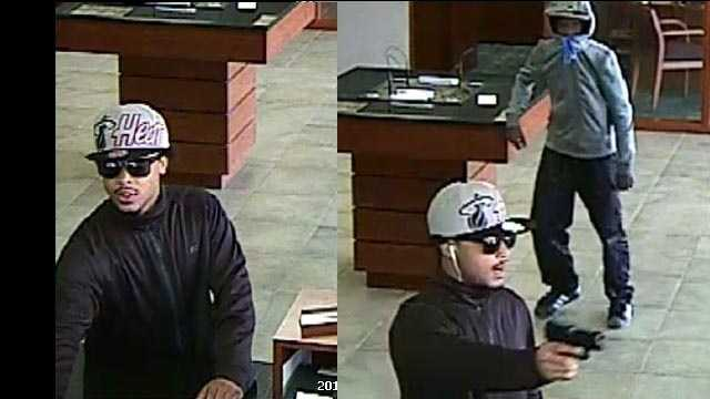 Surveillance photos from a bank robbery in Des Moines.