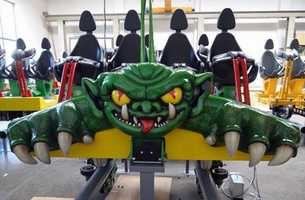 The seats for a new roller coaster at Adventureland Park.