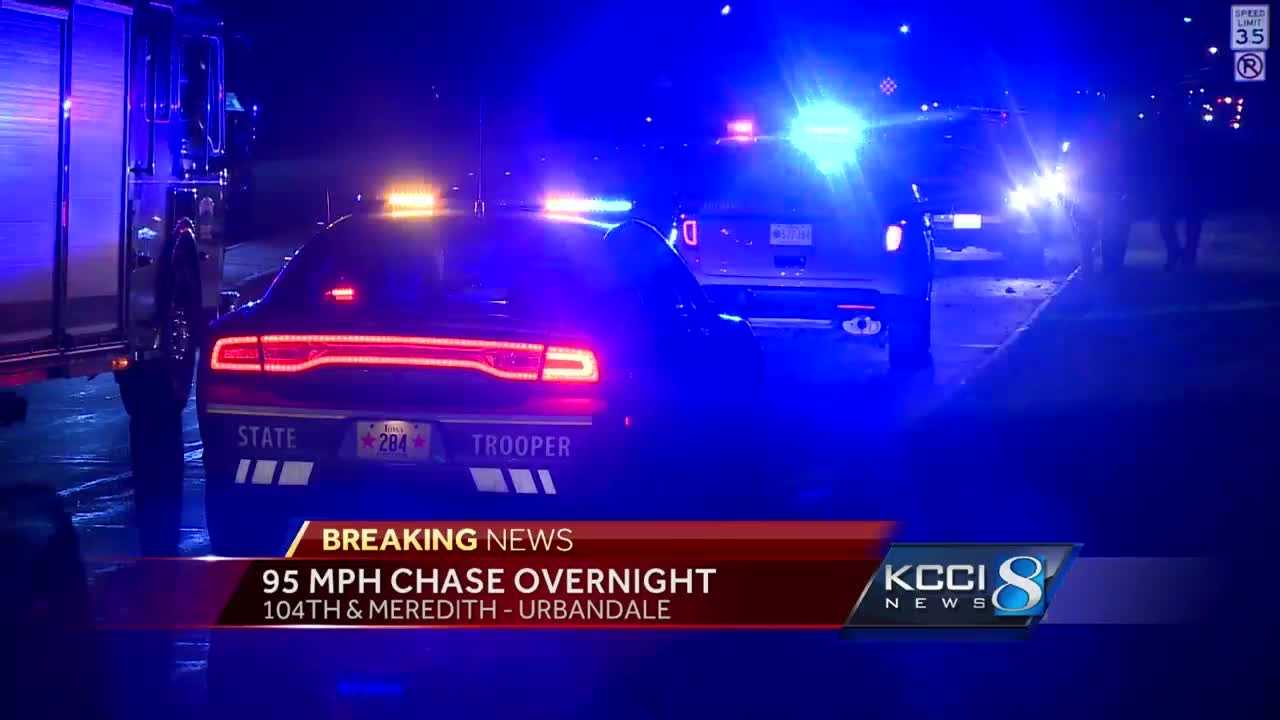 A suspect lost control and crashed his pickup during a police pursuit overnight.