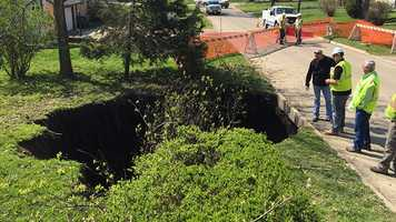 Wednesday, sinkhole formed overnight in front yard of Des Moines home