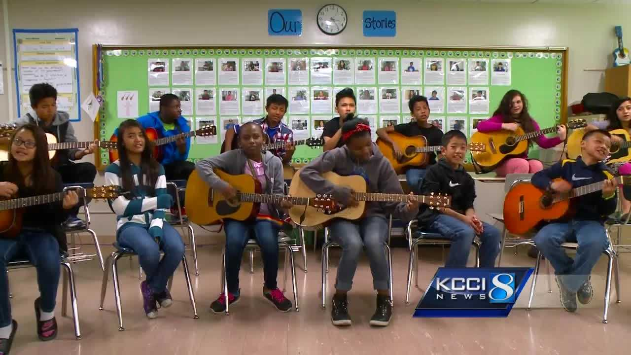 English is not the first language of several Meredith Middle School students, but music is helping them learn to communicate better.