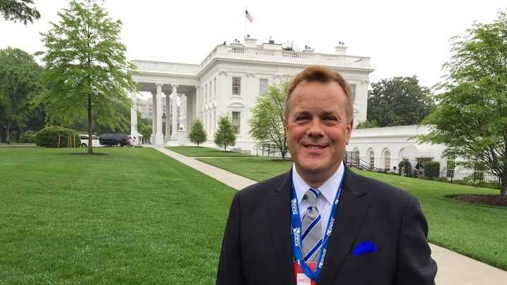 KCCI anchor Steve Karlin at the White House on Monday.