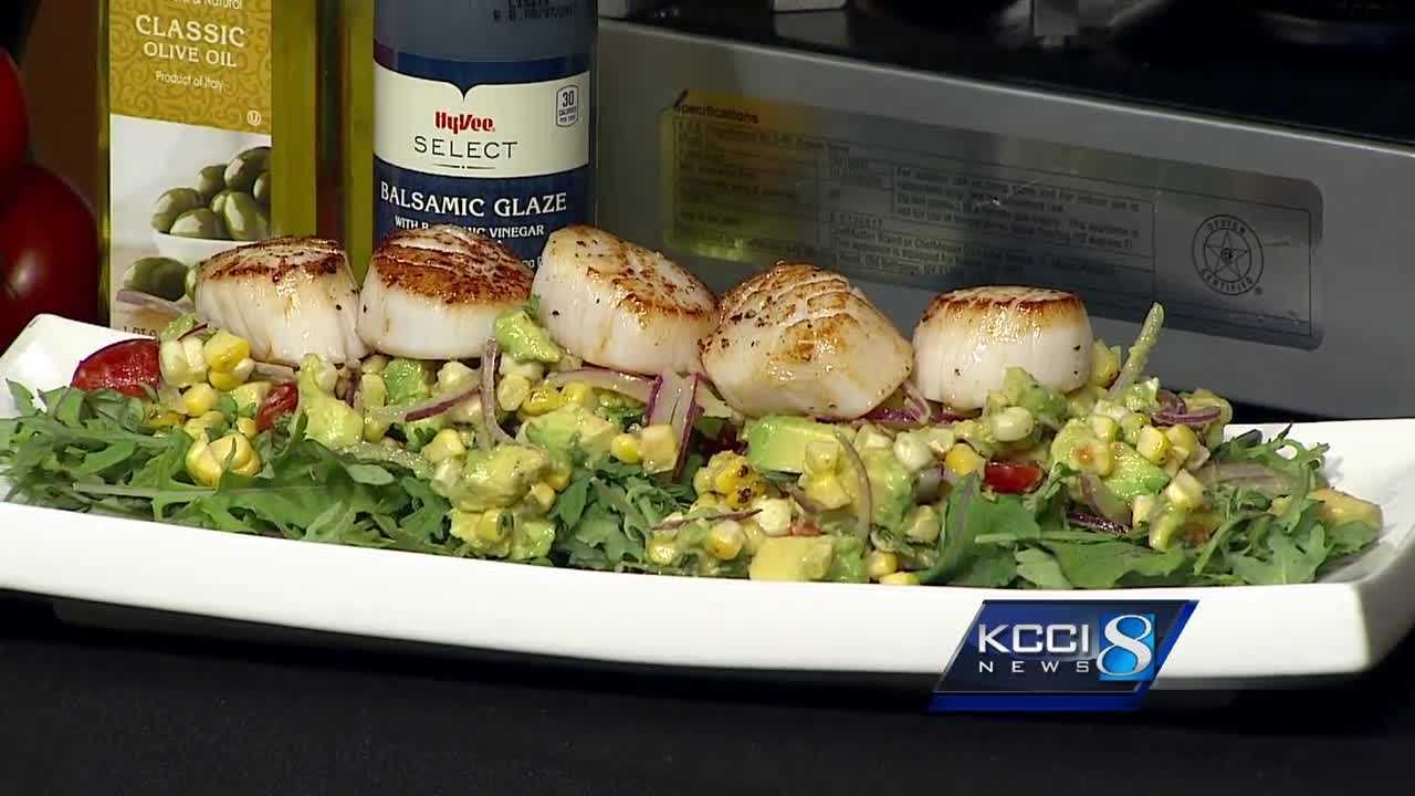 Seared Responsible Choice Scallops with Corn Tomato Salad