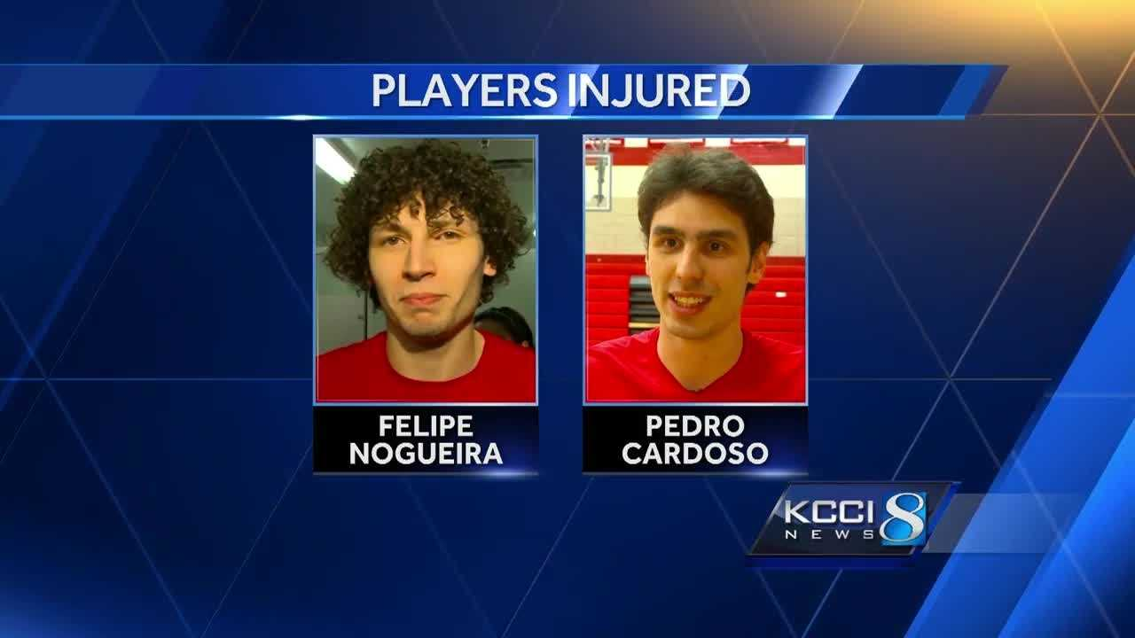Two Grand View University men's volleyball players are in the hospital Saturday following an early-morning accident.