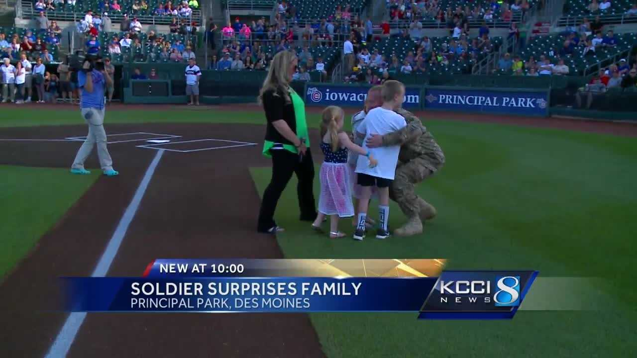 Chief Warrant Officer Ryan Beargeon's three kids were overjoyed when he surprised them at Principal Park Saturday night.