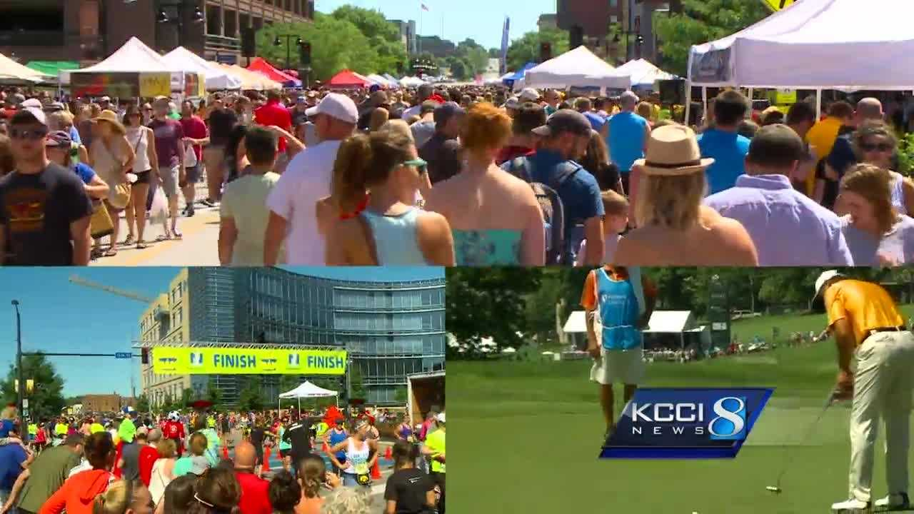 Des Moines officials estimated about 57,000 people were downtown for all three events.