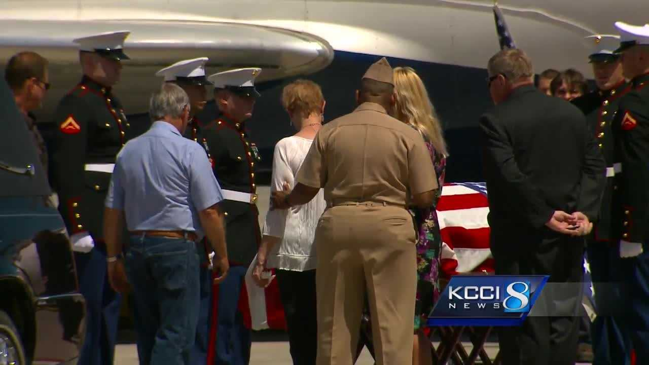 The Iowa Patriot Guard Riders escorted Private Haraldson's remains from the airport in Des Moines to the funeral home in Fort Dodge this afternoon.