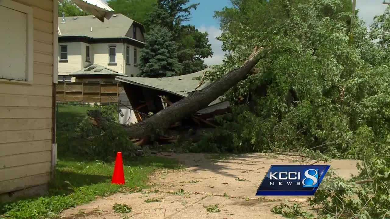 Western Iowa residents woke up to toppled trees and down power lines Wednesday morning following a violent overnight storm.