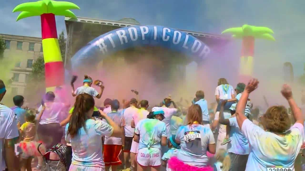 Color filled downtown Des Moines Saturday as The Color Run Tropicolor World Tour stopped by the metro.