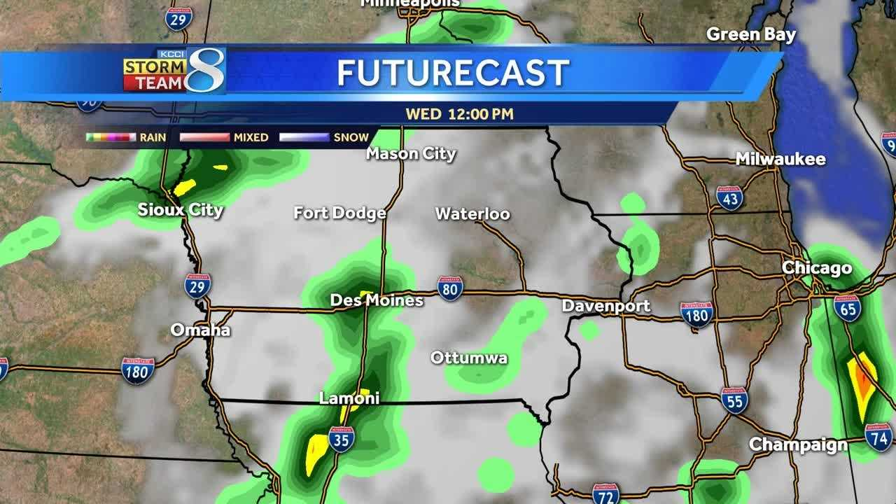 Futurecast shows storms moving through Iowa over the next 24 hours.