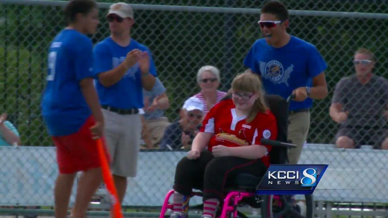 Cyclists joined in a local baseball game Saturday.