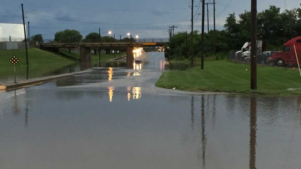 Road closed by flash flooding in Des Moines on Monday morning.