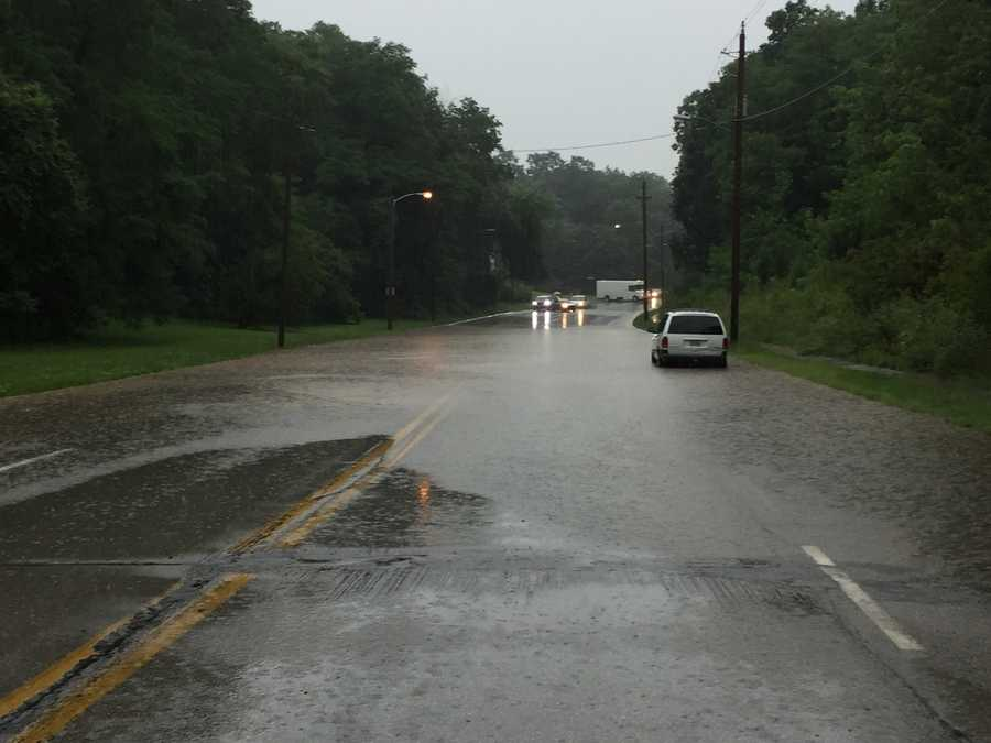 Hickman Road at Prospect flooding.