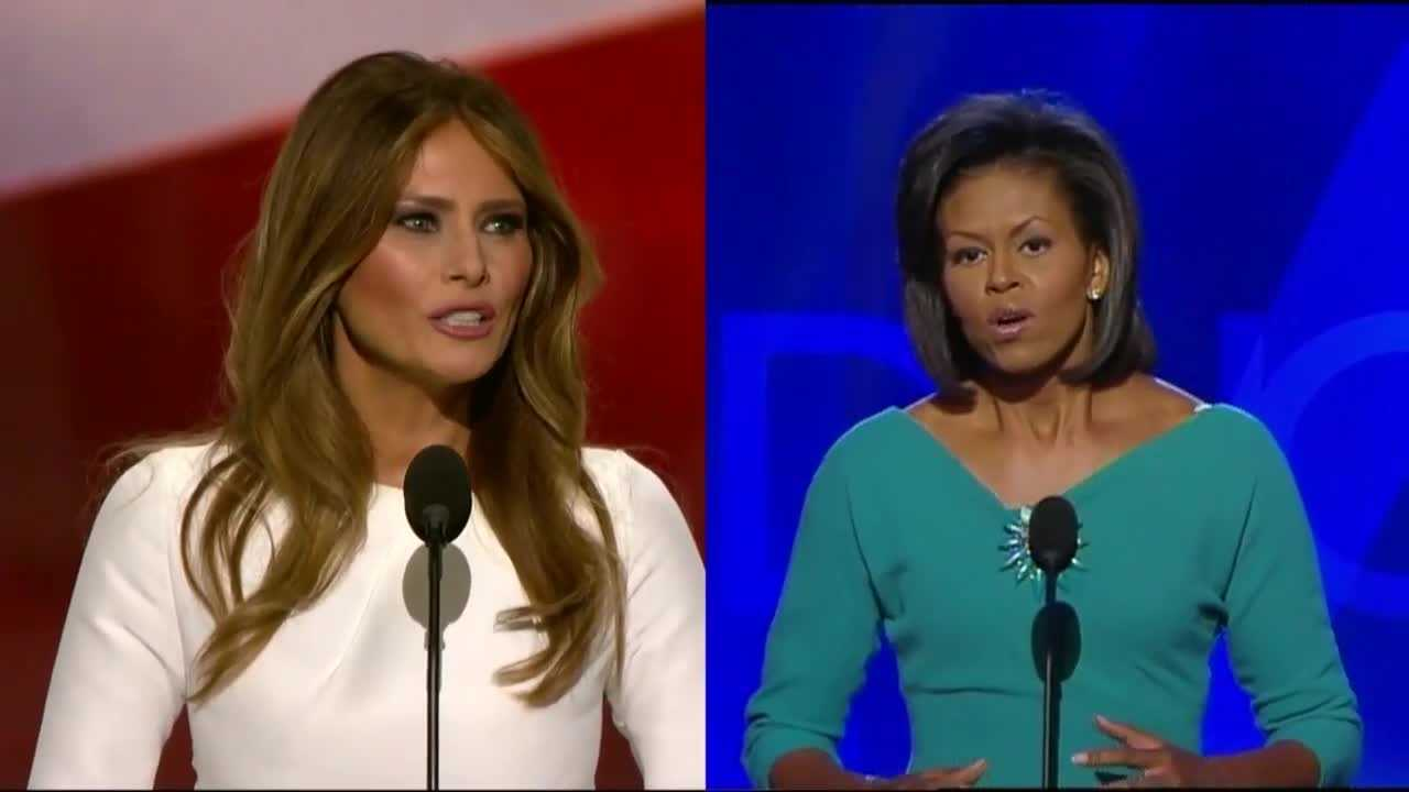 Donald Trump's campaign is defending his wife's speech, saying there are only a few similar phrases to Michelle Obama's address at the Democratic National Convention in 2008.