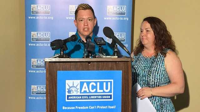 Jesse Vroegh and his wife at ACLU of Iowa news conference.