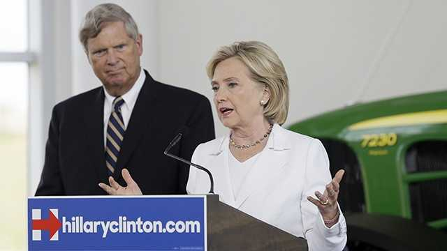 Hillary Clinton with Sec. of Agriculture Tom Vilsack