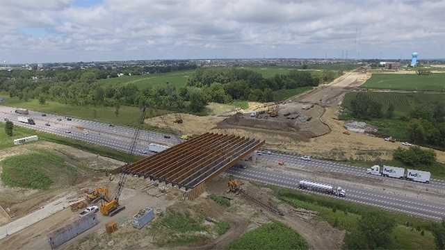 Construction continues on new 100th Street bridge in Urbandale.