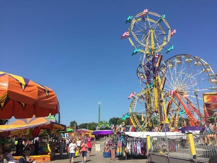 Iowa State Fair Midway rides.