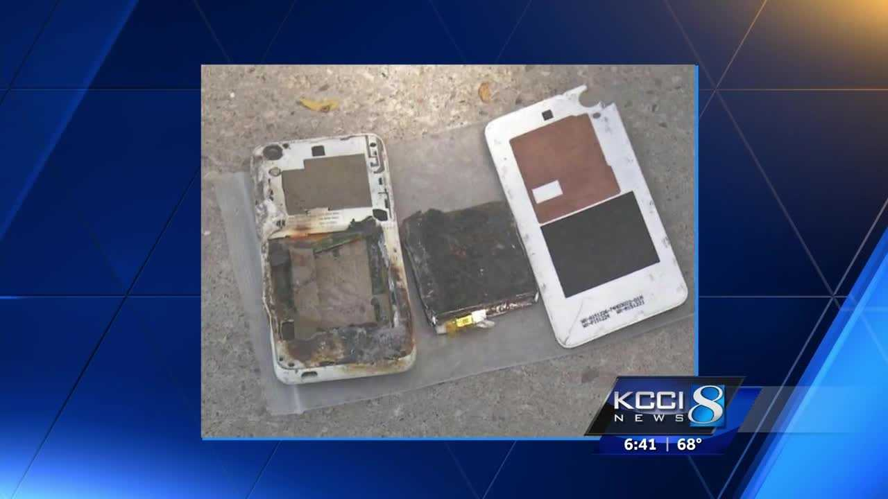 An Iowa woman said her smartphone caught fire and exploded in her bedroom.