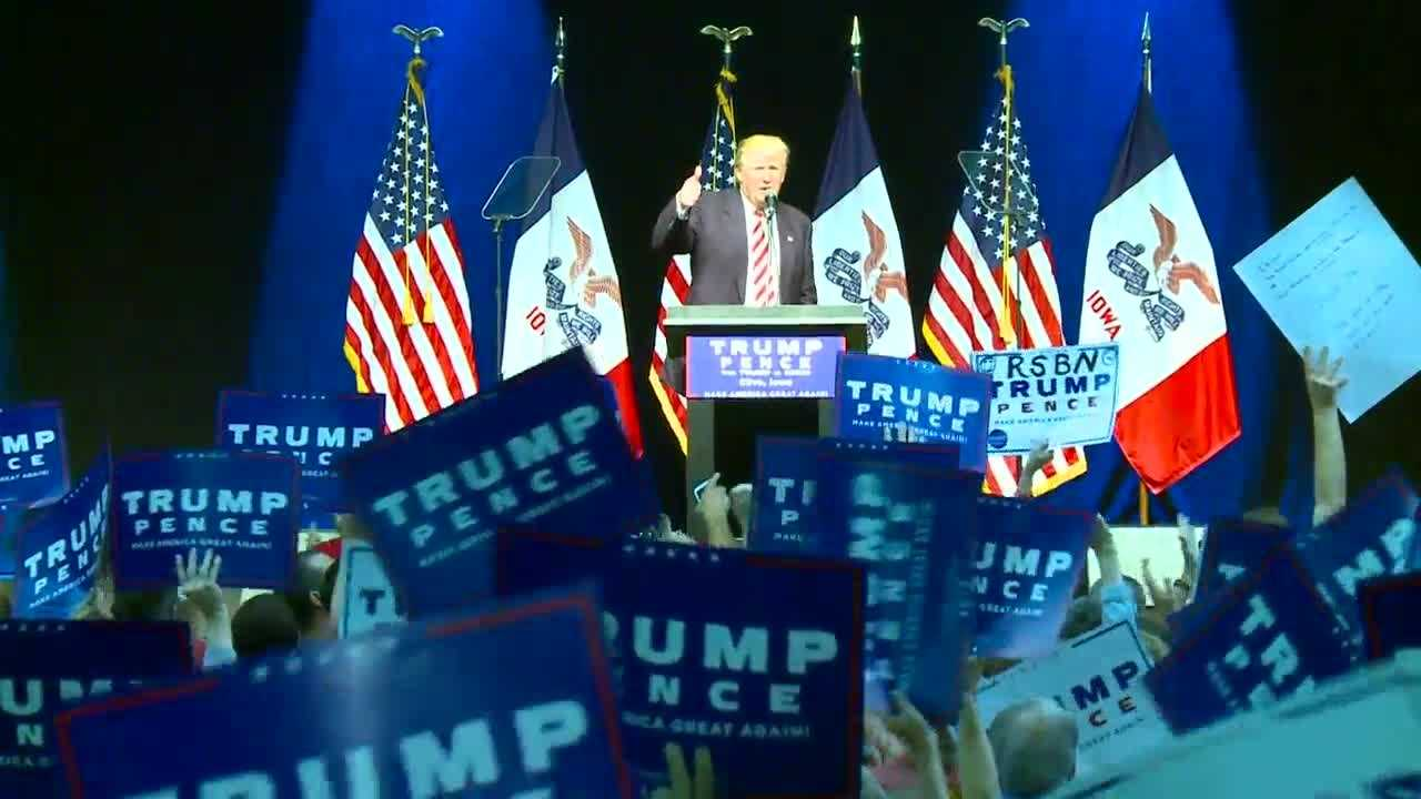 Republican presidential nominee Donald Trump is in central Iowa Tuesday.