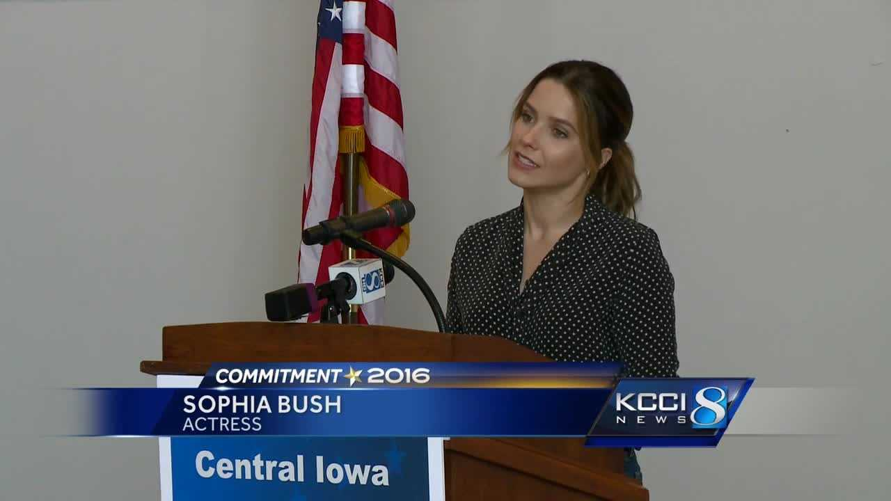 Actress Sophia Bush joined Tom Vilsack Sunday in encouraging Iowans to elect a president who has everyone's best interest at heart.