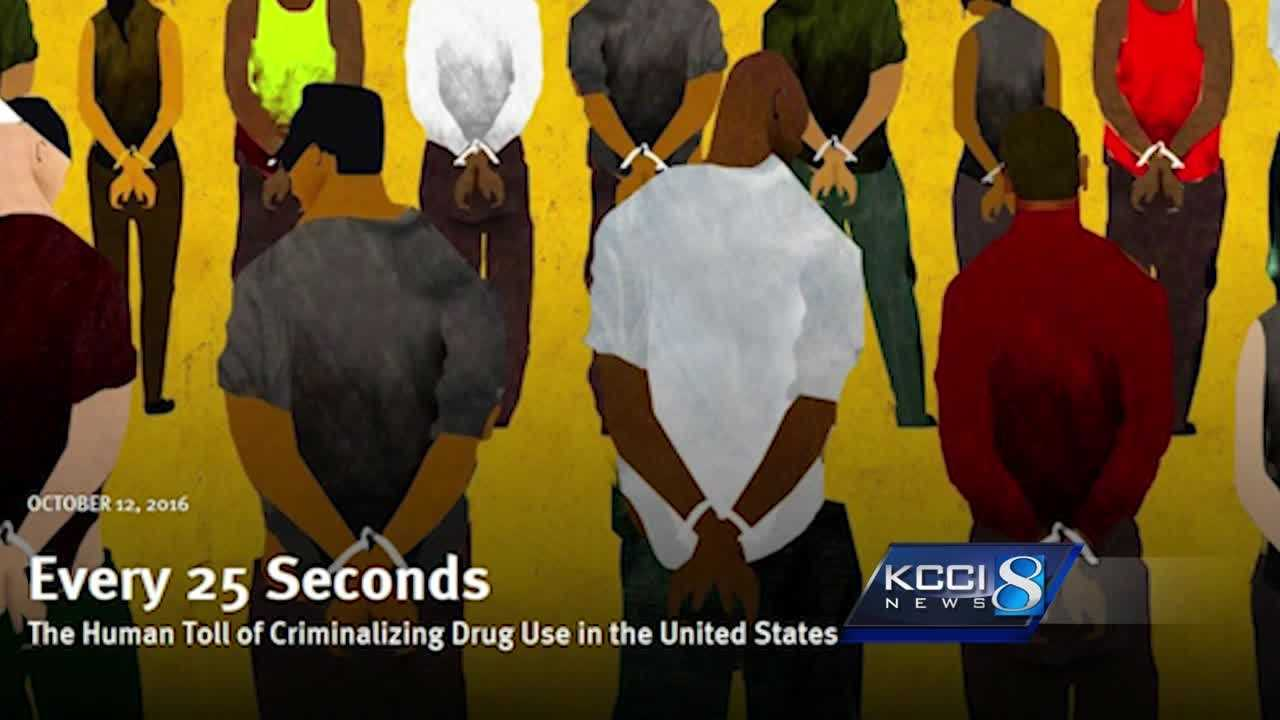 The American Civil Liberties Union reported Wednesday that Iowa has the second-worst record when arresting blacks for drug possession.