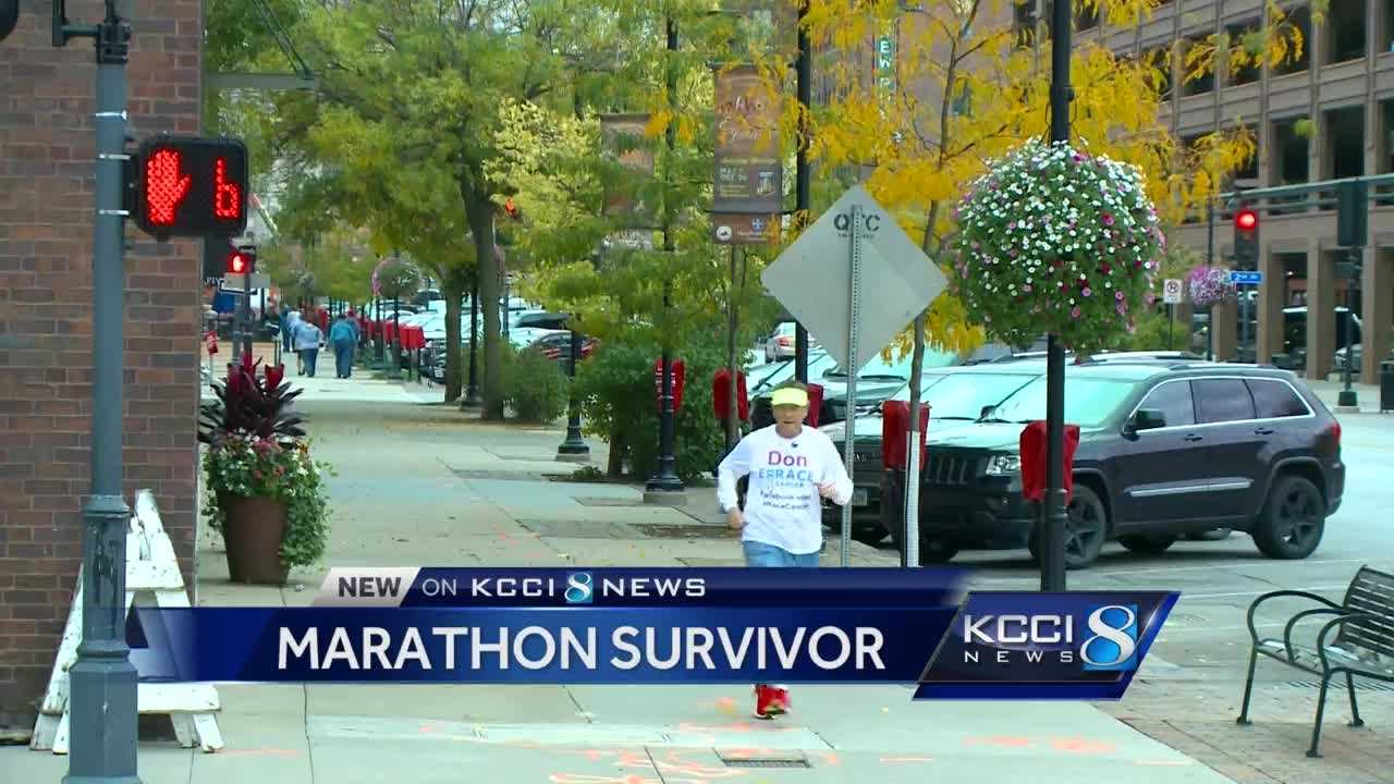 His run is now more of a fast walk, but he's here as a role model for cancer survivors.