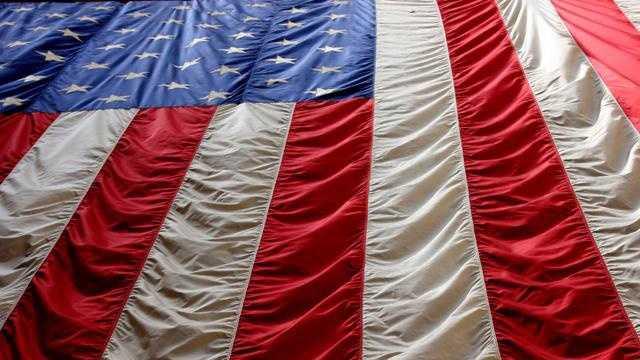 American flag hanging down