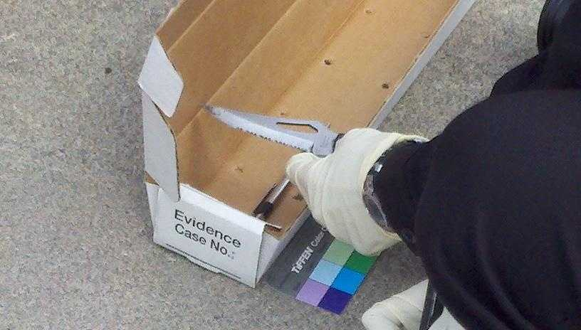The California Highway Patrol says the knife pictured was used in the attack.
