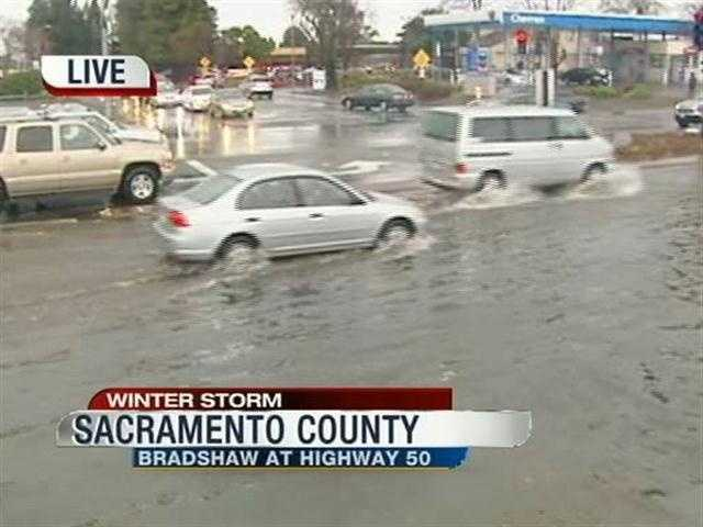 Clogged storm drains are to blame for flooding on Bradshaw Road in Sacramento County.