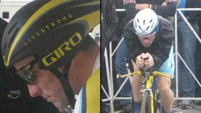 Lance Armstrong, left, and Levi Leipheimer, right.