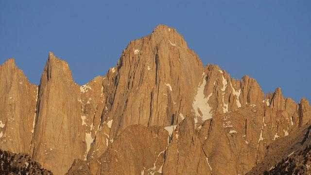 Mount Whitney, the tallest peak in the continental United States, stands in the Sierra Nevada mountain range.