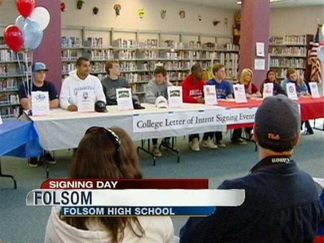 Students at Folsom High School officially declare where they will play sports next year.