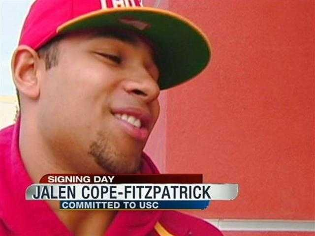 Jalen Cope-Fitzpatrick from Whitney H.S. signed his letter of intent to play football at USC next year.