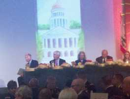 Governor Brown courts business leaders at the Sacramento Host Breakfast Tuesday morning.