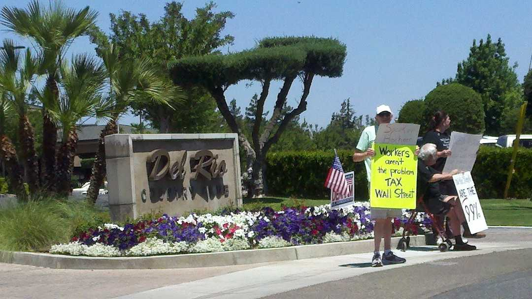 Protesting Speaker of the House campaigning for Rep. Jeff Denham.