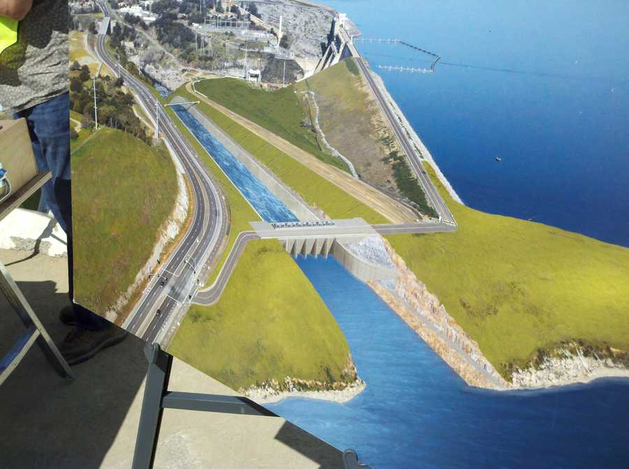 A rendering shows the Folsom Dam auxiliary spillway flood-control project.