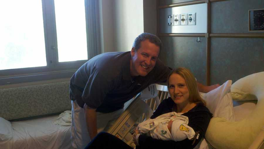 Mom and dad are all smiles. Their son Chase Bennett was born at 2:17 a.m.
