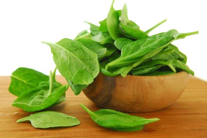 Spinach has lots of iron, along with other minerals.