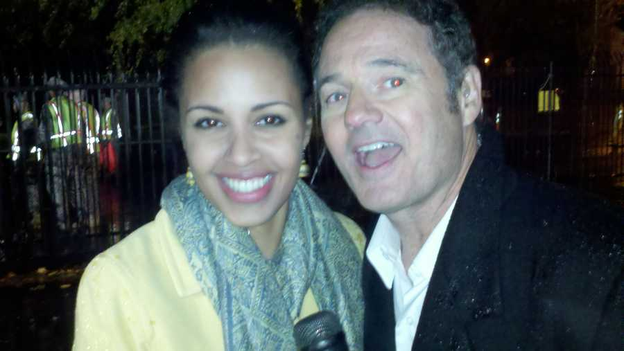 Adrienne and KCRA 3 anchor Walt Gray huddle for a photo. In 2008, Adrienne anchored her first noon newscast with about two-hours notice.