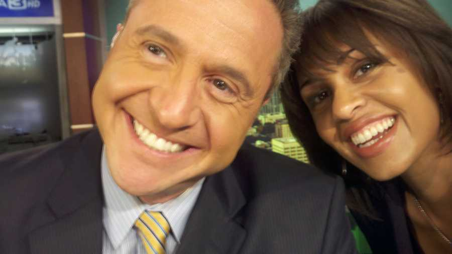 Adrienne and fellow anchor Teo Torres are all smiles.