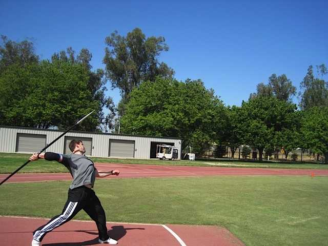 Chris only does five or six full javelin throws per workout.