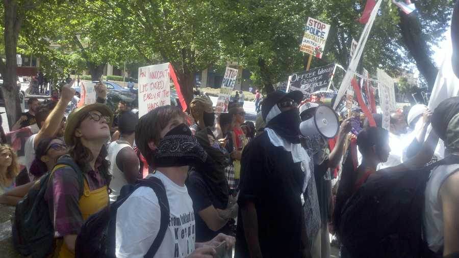 Protesters from Occupy Oakland and others clashed with police in Stockton on Thursday.