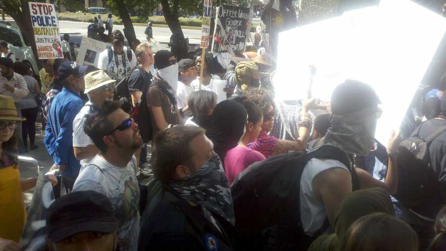 Occupy Oakland protesters and others clashed with police in Stockton on Thursday.