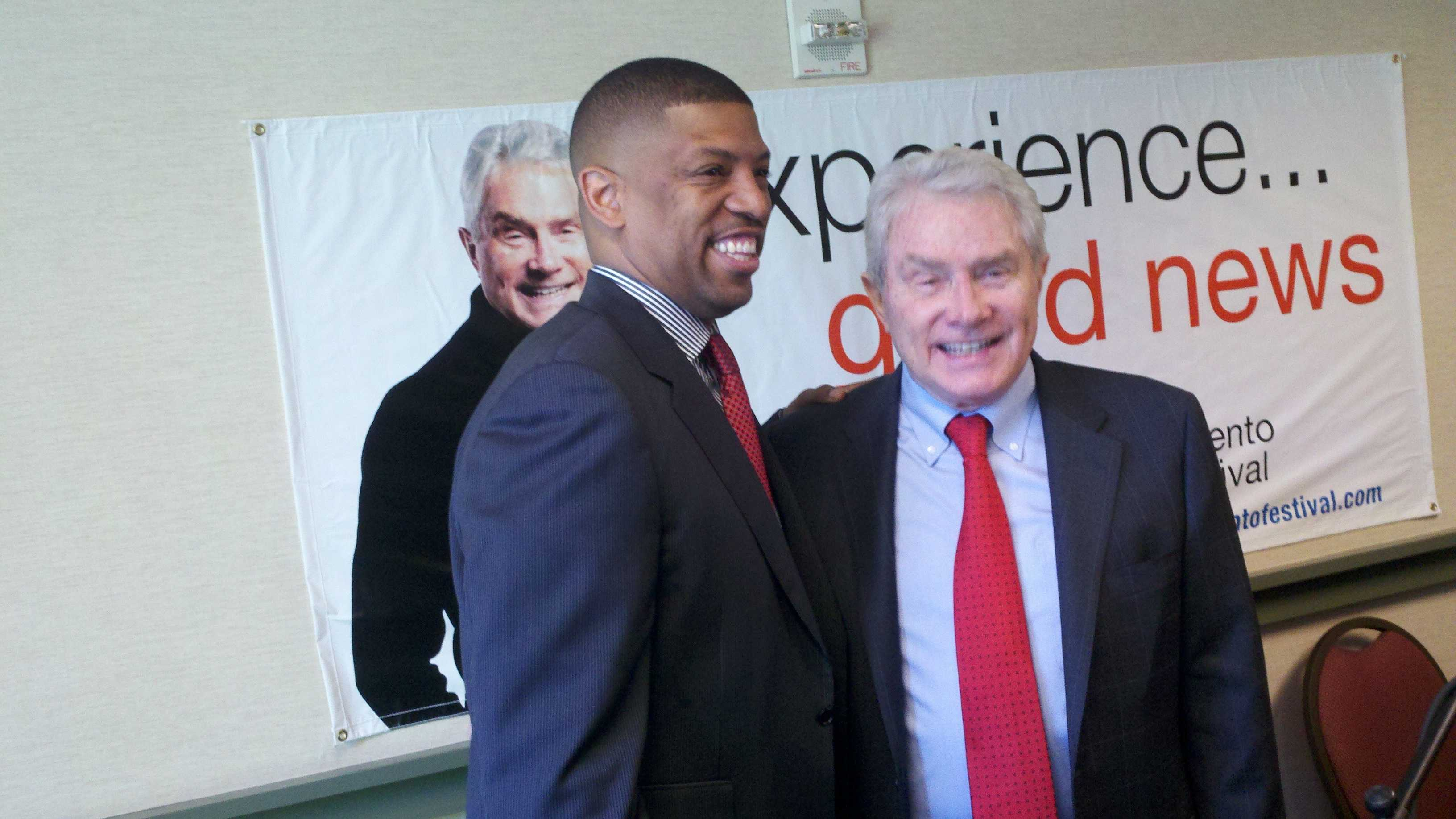 Sacramento Mayor Kevin Johnson and evangelist Luis Palau.
