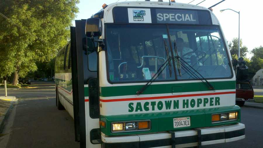 The Sactown Hopper is a converted transit bus from Napa.