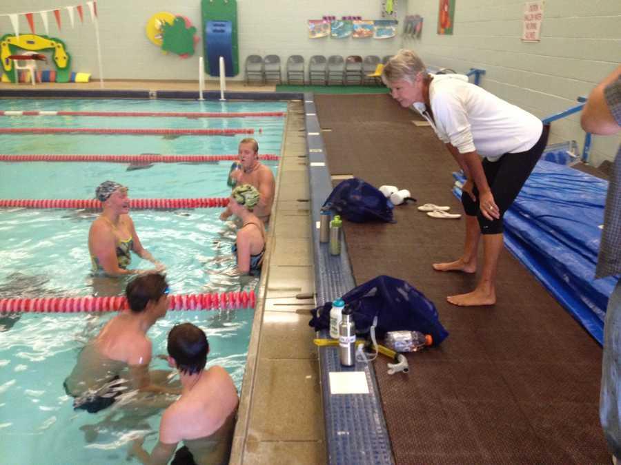 Debbie Meyer coaches Truckee-Tahoe Swim Team at the Truckee Community Pool.