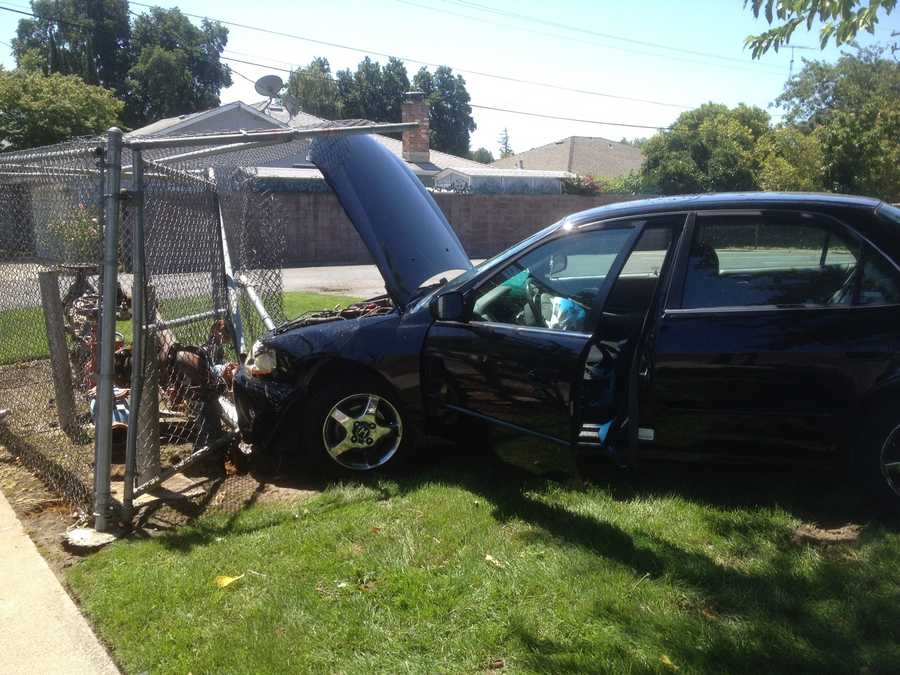 A woman with a medical issue passed out while driving Monday and rammed her car into a water main in West Sacramento.