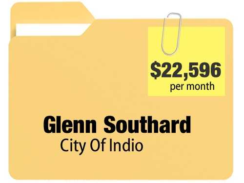 No. 9: Glenn Southard receives $22,596.42 a month for an annual $271,157.04 pension from the city of Indio.