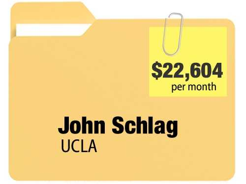John Schlag receives $22,604.16 a month for an annual $271,249.92 pension from the University Of California, Los Angeles.